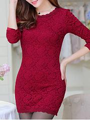 ... Round Neck Lace Lace Bodycon Dresses ...