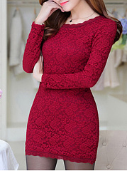 Round Neck  Lace  Lace Bodycon Dresses