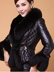 Faux Fur Collar Quilted Single Button PU Leather Coat