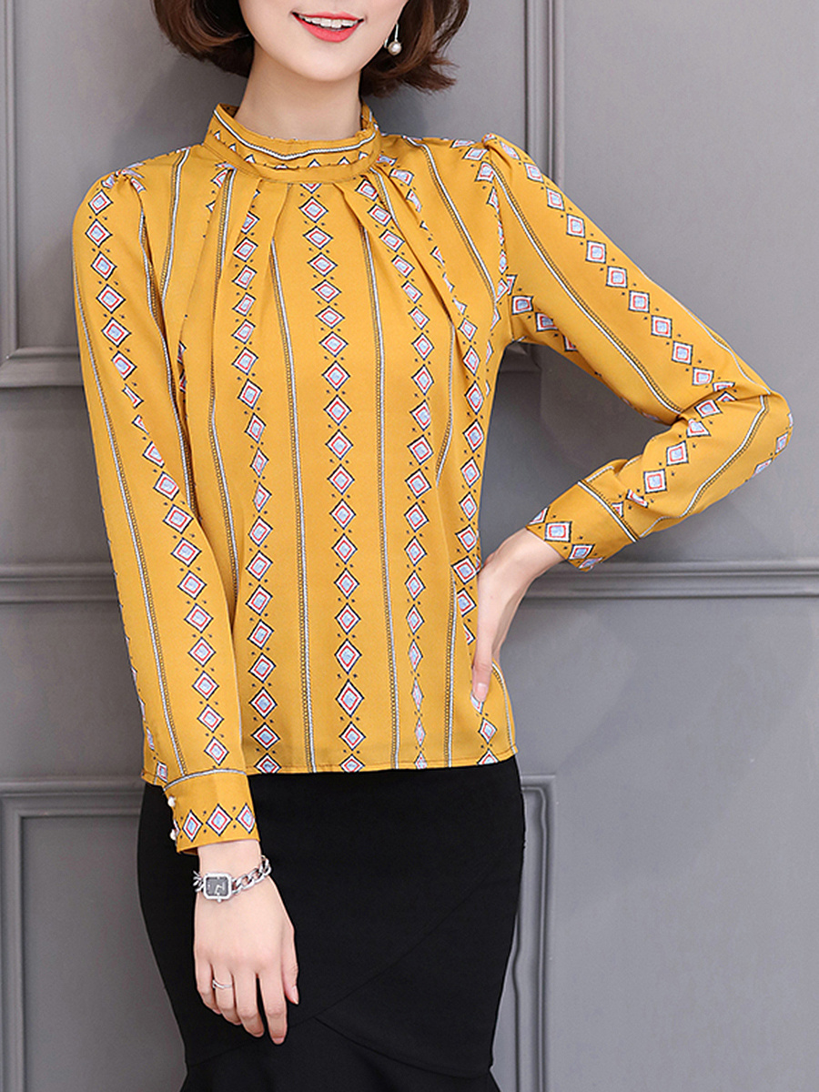 Chic Band Collar  Printed Blouse