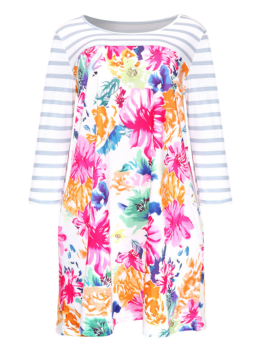 Floral Striped Round Neck Shift Dress