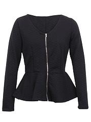Collarless-Peplum-Zips-Plain-Jacket
