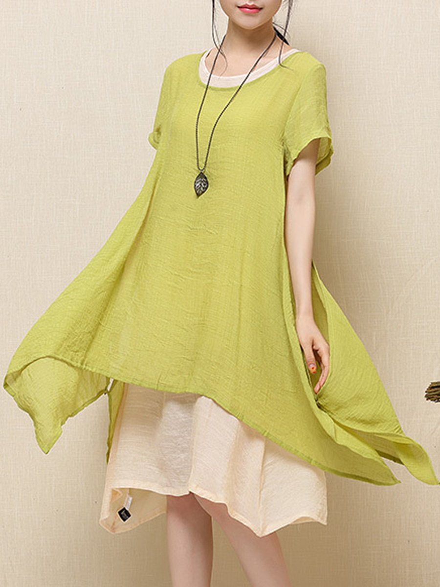 Round Neck  Color Block Midi Shift Dress