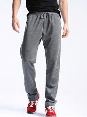Plain-Elastic-Waist-Straight-Mens-Casual-Sport-Pants