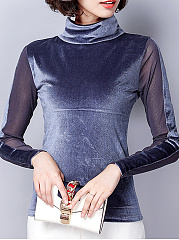 Autumn Winter  Mesh Polyester  Women  Turtleneck  See-Through  Plain  Long Sleeve Long Sleeve T-Shirts
