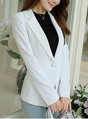 Charming Notch Lapel  Single Button  Plain Blazer