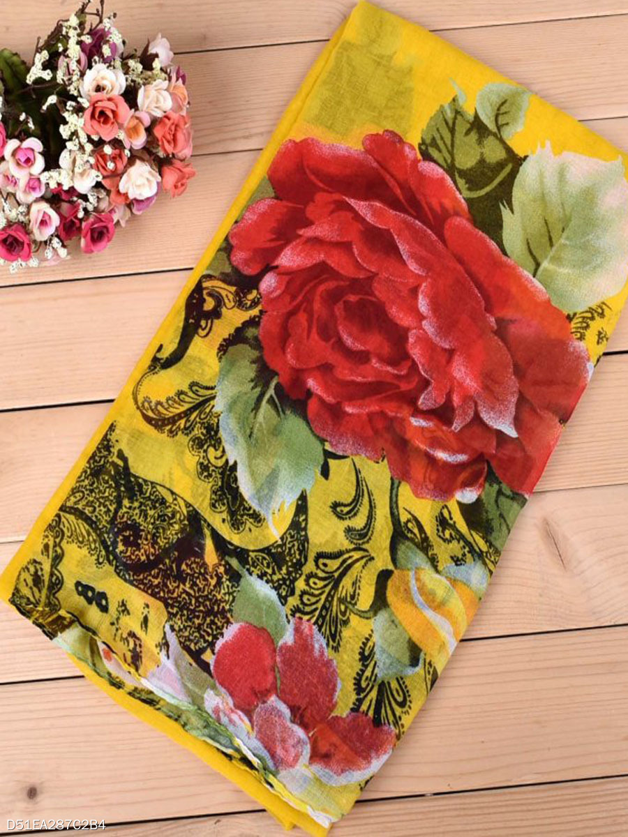 Women Paris Yarn Scarf Travel  Peony Flowers Breathable Scarves
