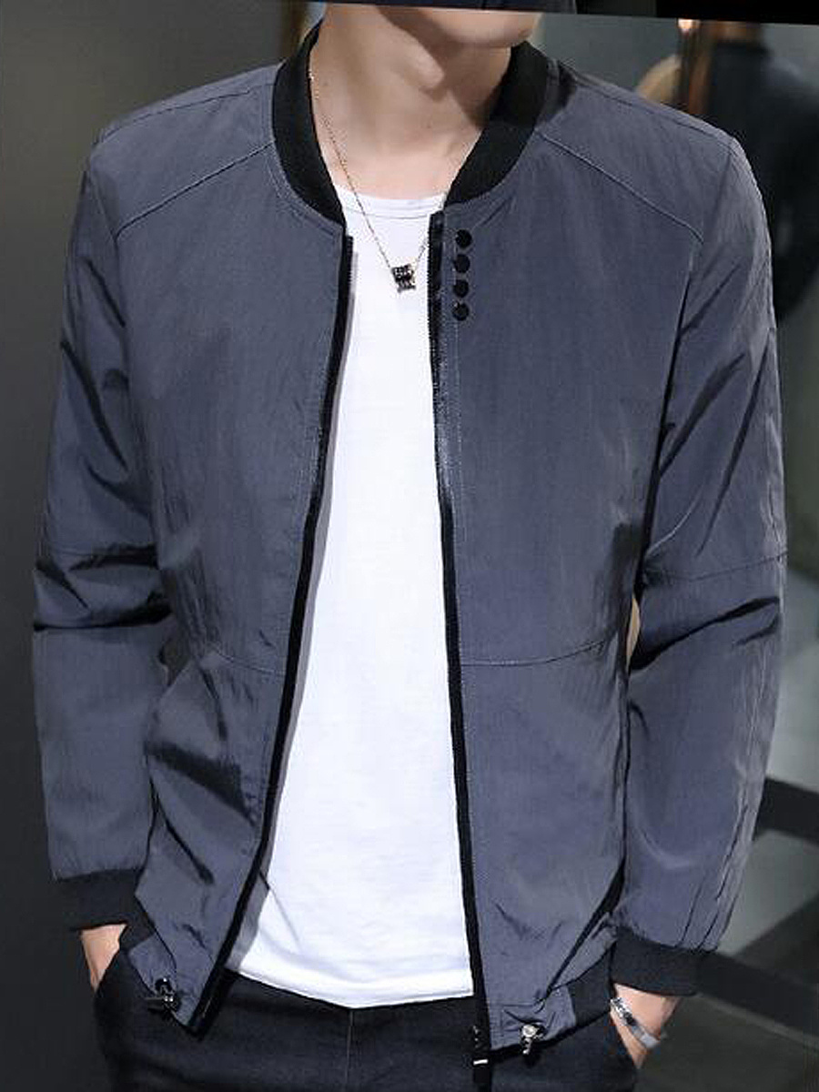 Band Collar Pocket Men Bomber Jacket