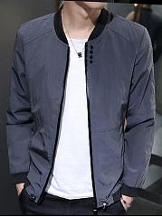 Band-Collar-Pocket-Men-Bomber-Jacket