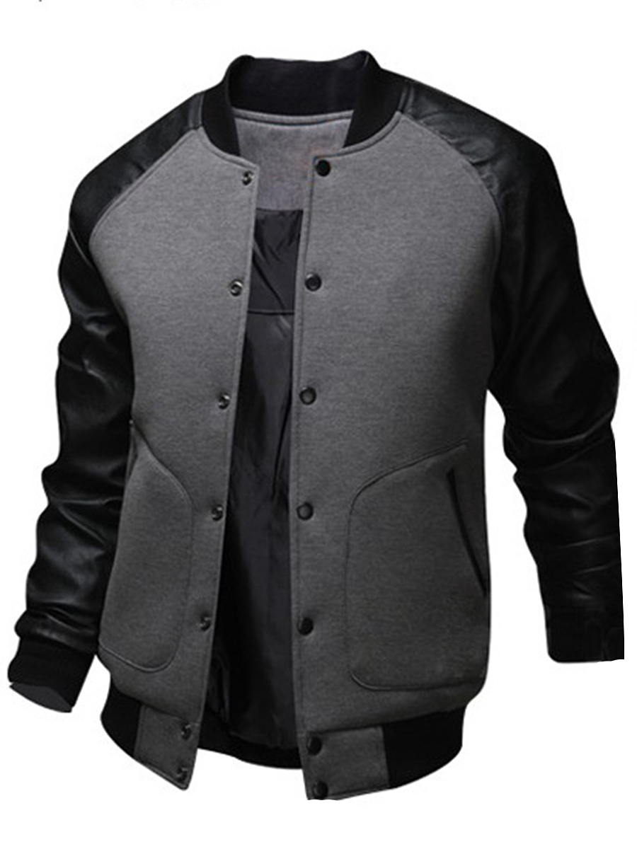 Men Band Collar Patchwork Pocket Bomber Jacket