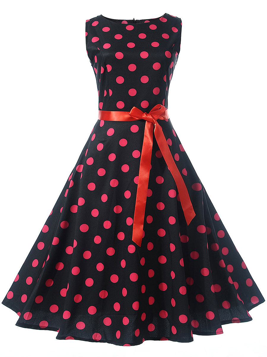 Round Neck Polka Dot Belt Bowknot Skater Dress