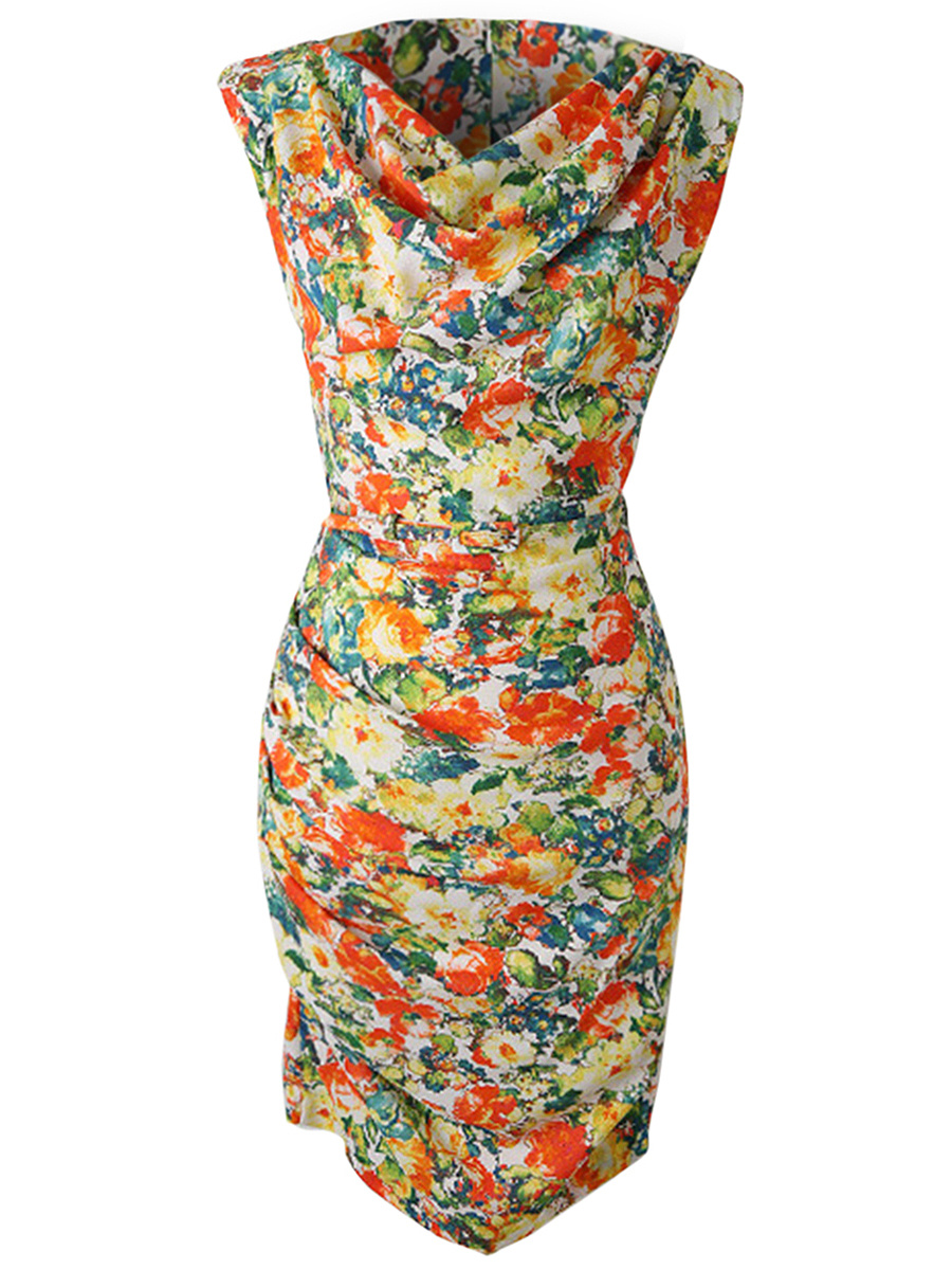 Cowl Neck Allover Floral Ruched Bodycon Dress