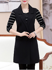 Notch Lapel Flap Pocket Plain Sleeveless Long Blazer