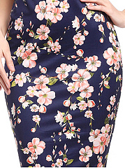 Asymmetric Neck  Floral Printed Bodycon Dress