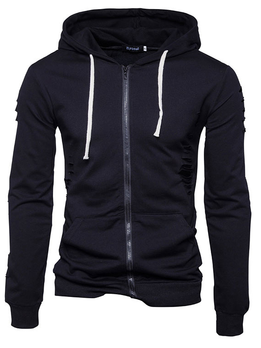 Patch Pocket Zips Plain Men Hoodie