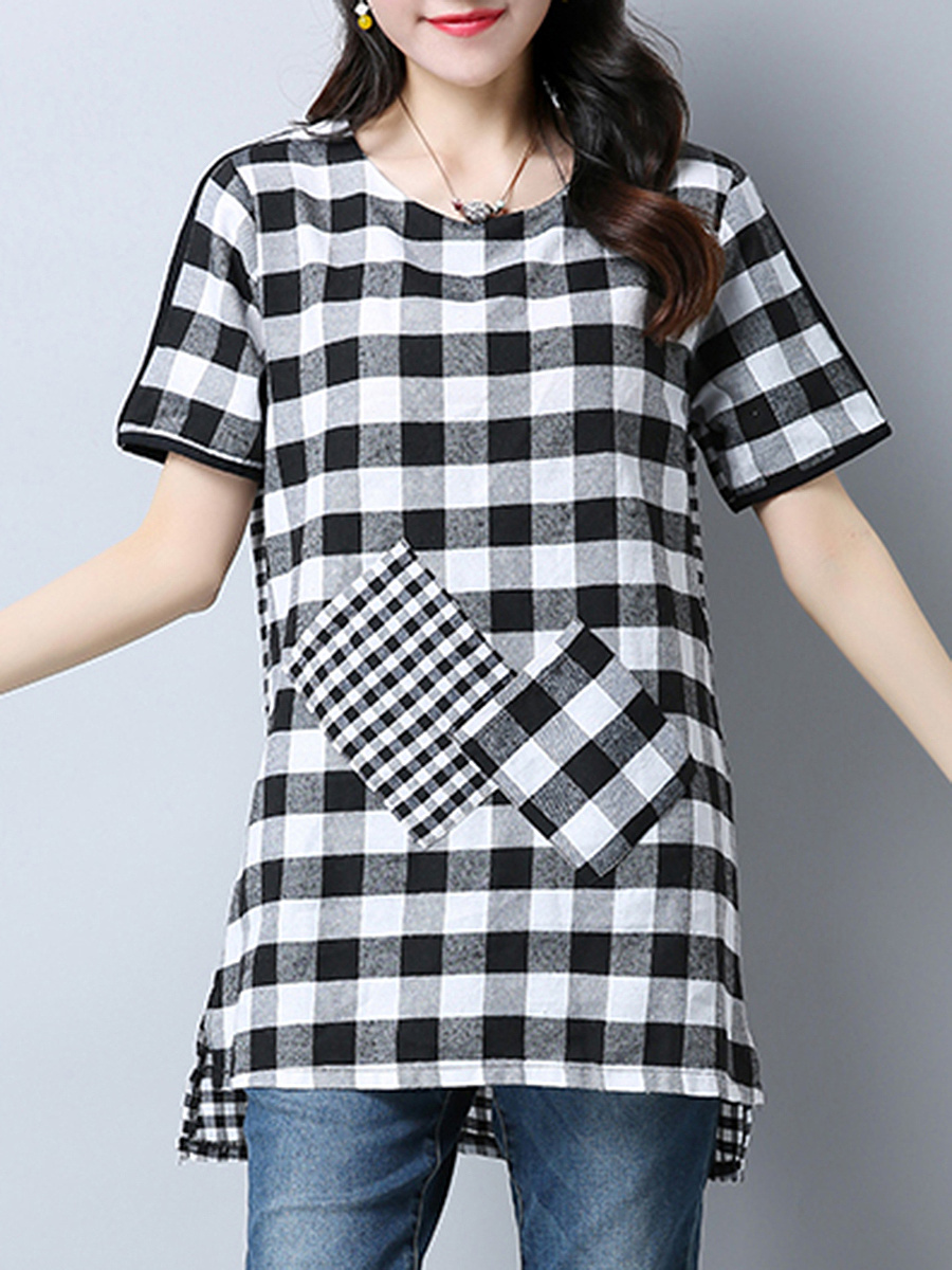 High-Low Plaid Patch Pocket Short Sleeve T-Shirt