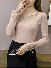 Round Neck  Glitter  Plain  Long Sleeve Sweaters Pullover