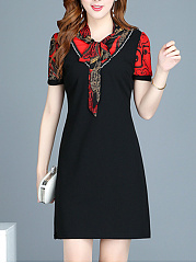 Tie Collar  Patchwork  Printed Shift Dress