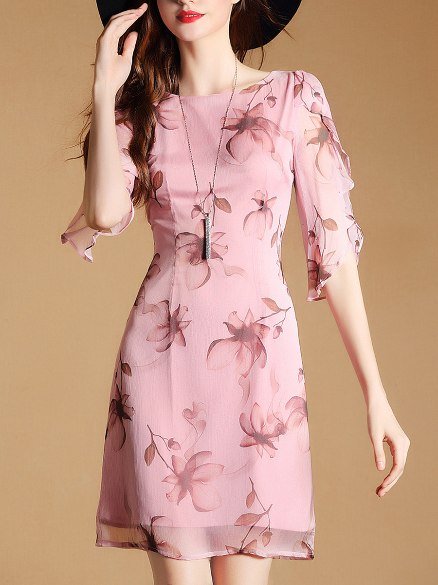 Courtly Round Neck Floral Printed Bodycon Dress
