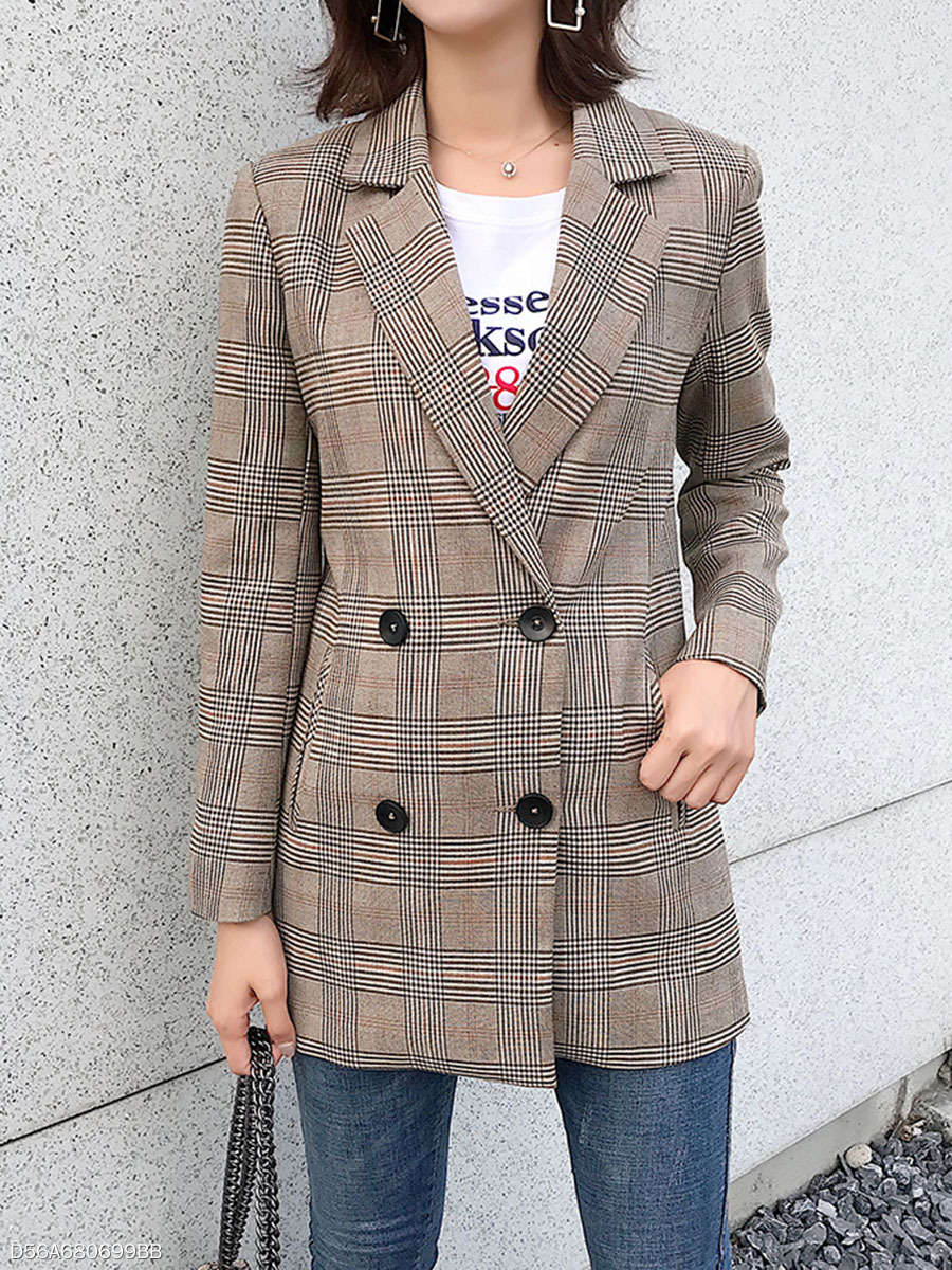 Notch Lapel  Double Breasted  Plaid  Long Sleeve Blazers