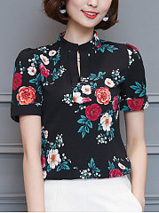 Summer  Cotton  Women  Round Neck  Floral Printed  Short Sleeve Blouses