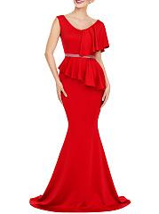 V-Neck-Flounce-Rhinestone-Plain-Mermaid-Evening-Dress