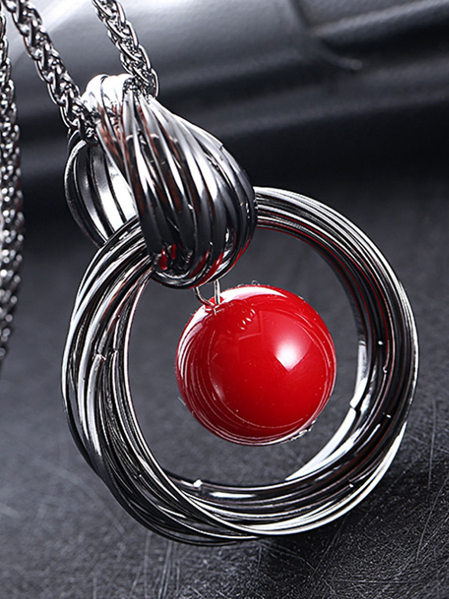 Red Pearl Pendant Long Necklace