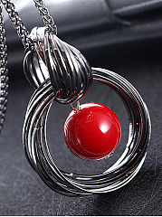 Red Beads Pendant Long Necklace