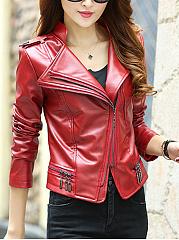 Lapel-Zips-Plain-PU-Leather-Biker-Jacket