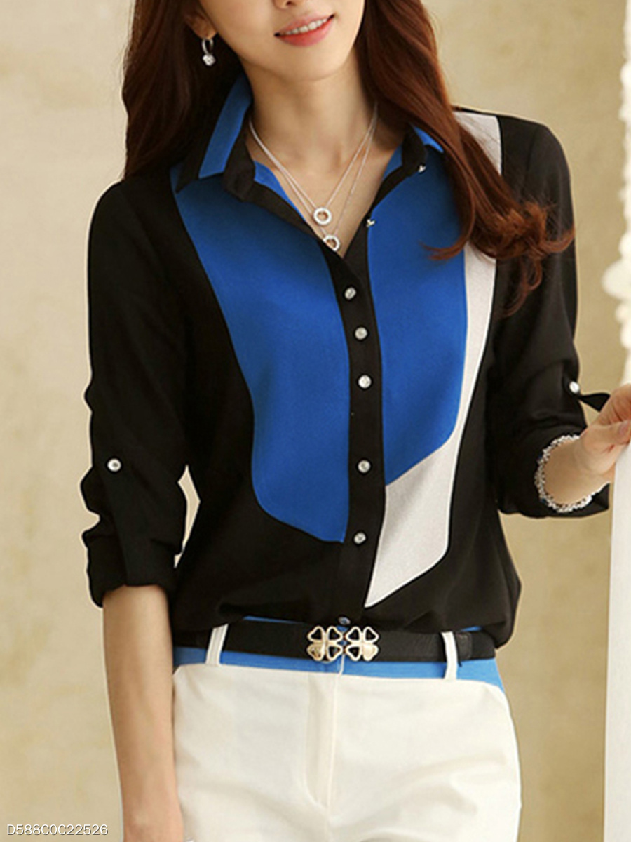 Autumn Spring  Chiffon  Women  Turn Down Collar  Color Block  Roll-Up Sleeve  Long Sleeve Blouses