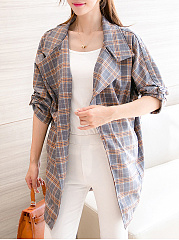 Fold-Over Collar  Plaid  Tie Sleeve Trench Coats