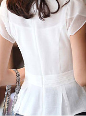 Summer  Chiffon  Women  Round Neck  Ruffle Trim  Plain  Petal Sleeve  Short Sleeve Blouses
