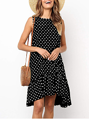 Round Neck  Asymmetric Hem  Polka Dot Shift Dress