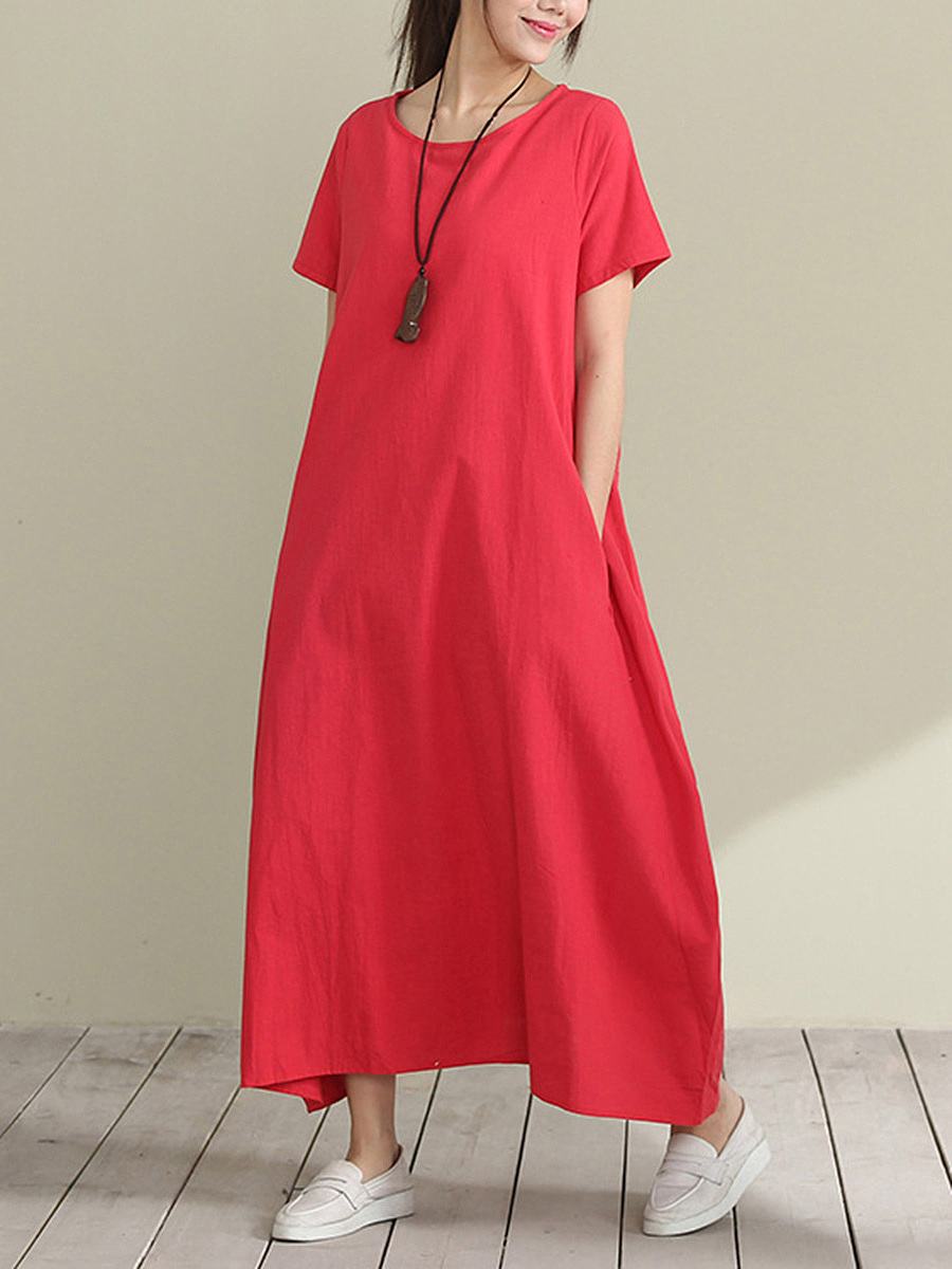 Solid Round Neck Pocket Sack Maxi Dress