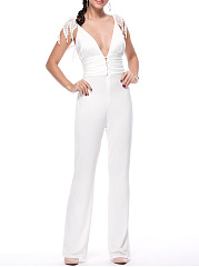 Designed-Deep-V-Neck-Decorative-Lace-Solid-Straight-Jumpsuit