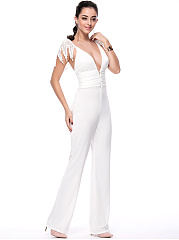 Designed Deep V-Neck Decorative Lace Solid Straight Jumpsuit