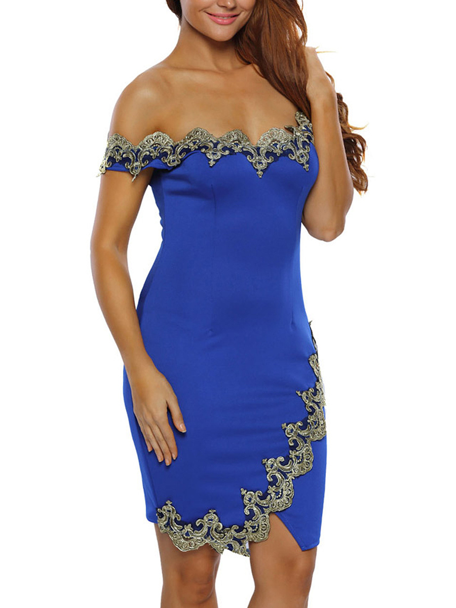 Off Shoulder Decorative Lace Slit Bodycon Dress