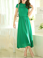 Band Collar  Plain Maxi Dress