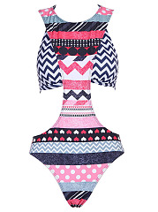 Crew Neck  Polka Dot Striped Tribal Printed One Piece