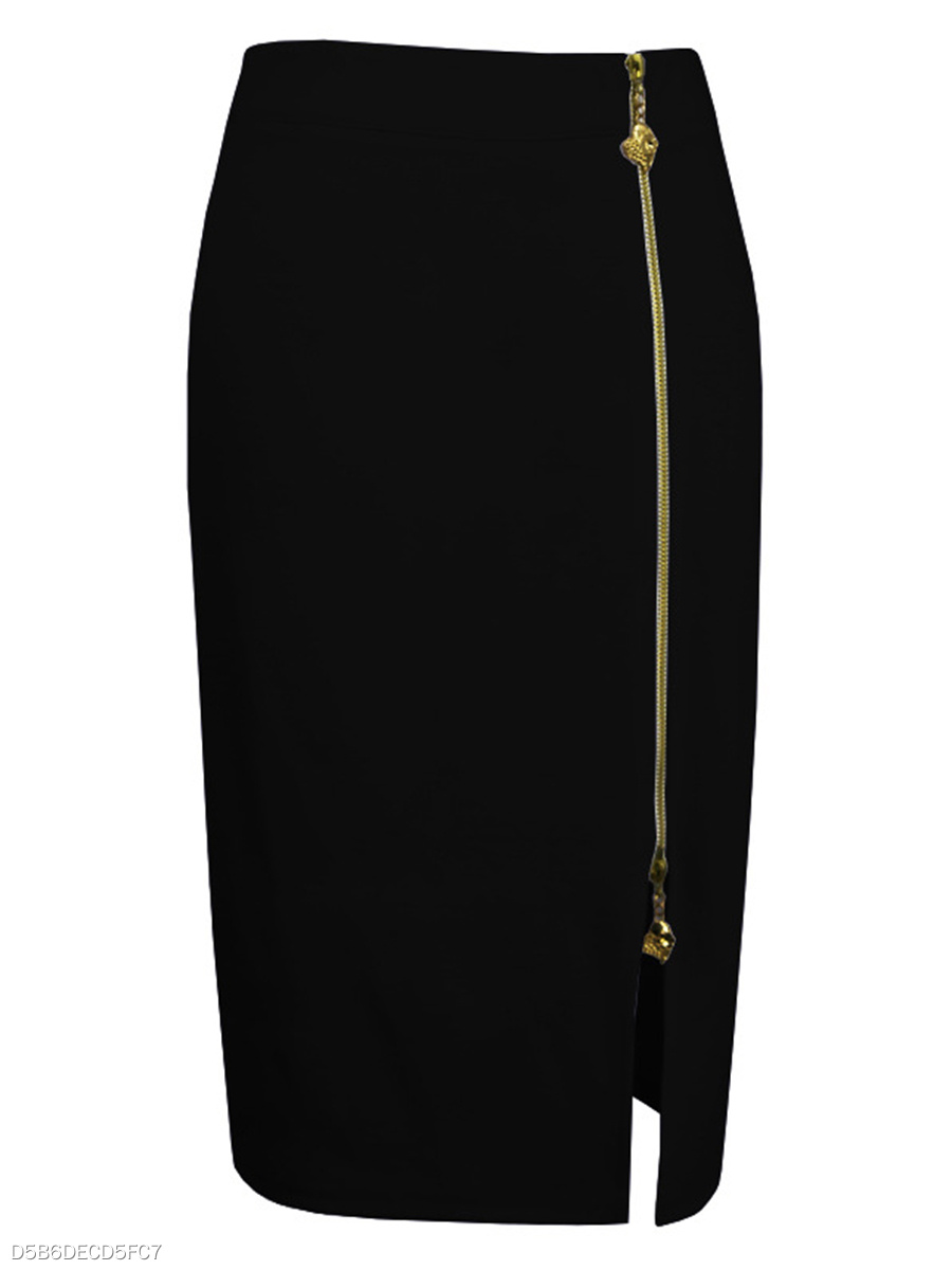 Plain Zips Slit Pencil Midi Skirt