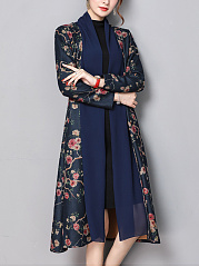 Lapel Patchwork Floral Printed Trench Coat