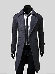 Office Lapel Double Breasted Plain Men Coat