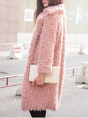 Shaggy Lapel Plain Faux Fur Coat