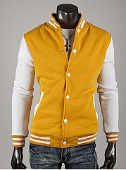 Band Collar Men Single Breasted Pocket Striped Jacket