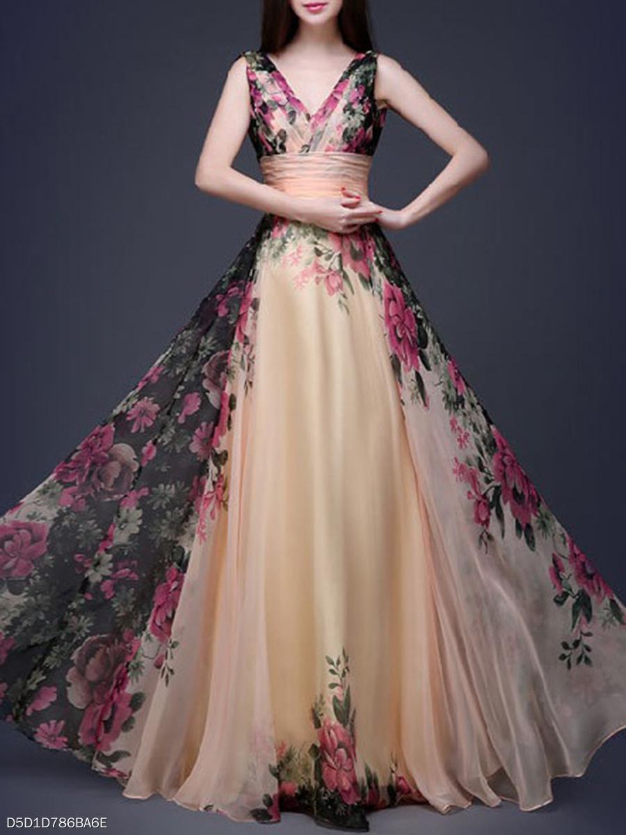 V-Neck Floral Printed Chiffon Evening Dress - fashionMia.com