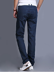 Solid Pocket Straight Men's Basic Pants