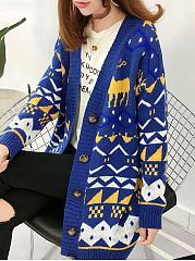 Loose Fitting  Animal Prints Color Block Geometric Cardigans