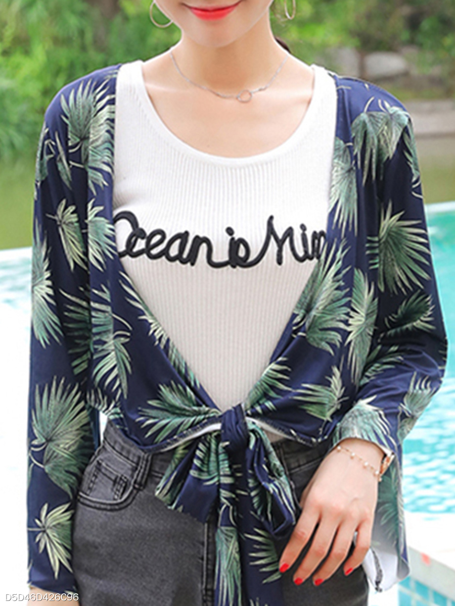 Abstract Print  Bell Sleeve Cardigans