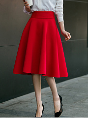 Charming Plain Flared Midi Skirt