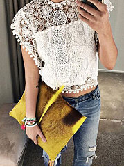 Spring Summer  Cotton  Women  Round Neck  Floral Lace Plain  Extra Short Sleeve Blouses